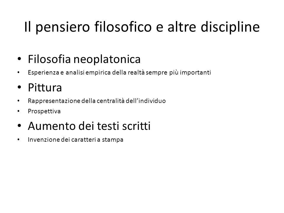 Il pensiero filosofico e altre discipline