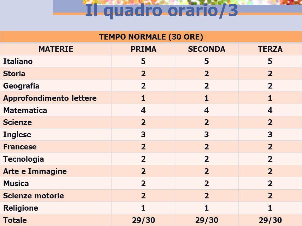 Il quadro orario/3 TEMPO NORMALE (30 ORE) MATERIE PRIMA SECONDA TERZA
