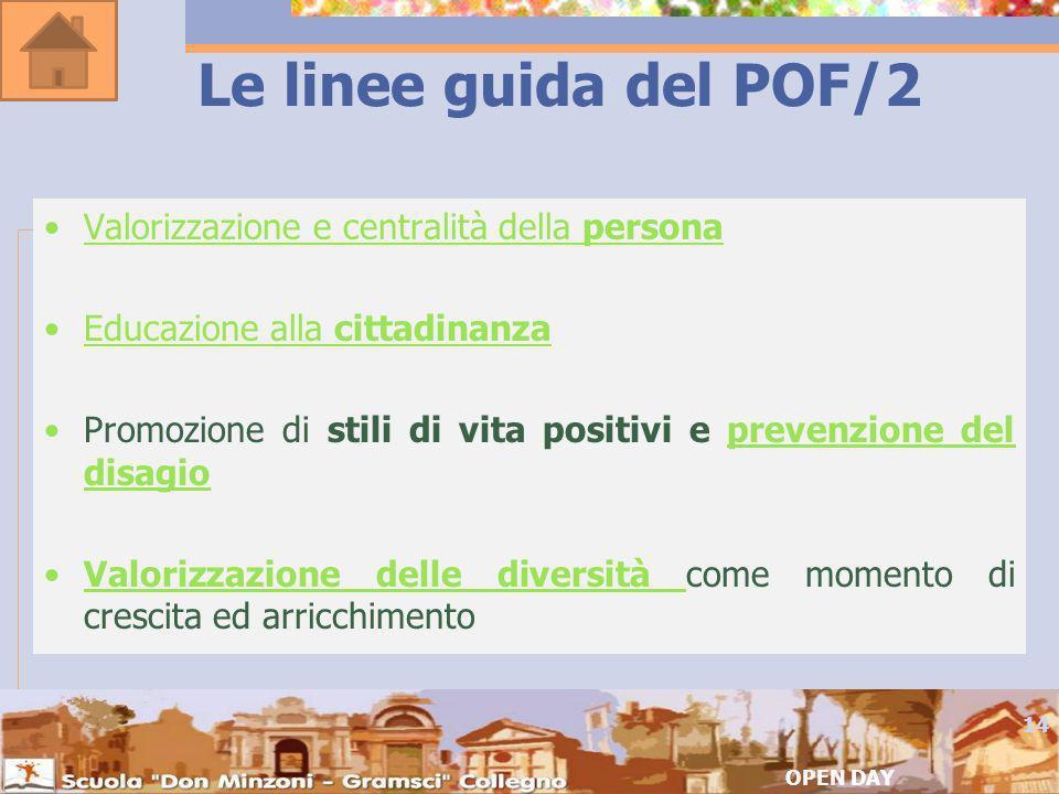 Le linee guida del POF/2 Valorizzazione e centralità della persona