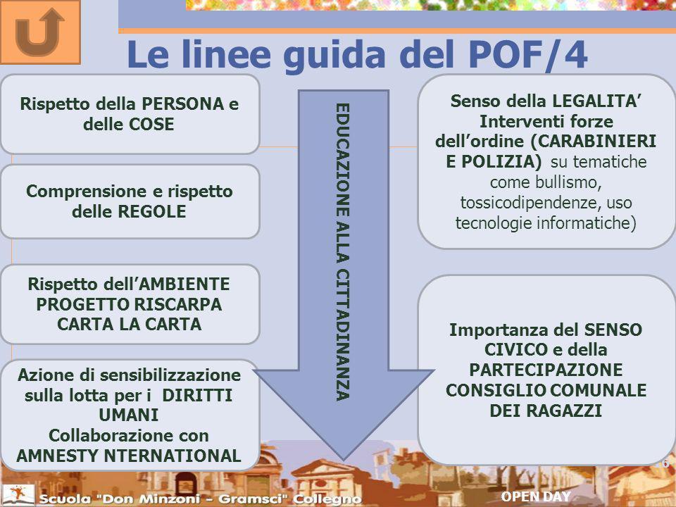 Le linee guida del POF/4 Rispetto della PERSONA e delle COSE