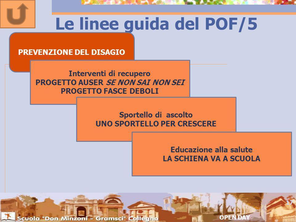 Le linee guida del POF/5 PREVENZIONE DEL DISAGIO
