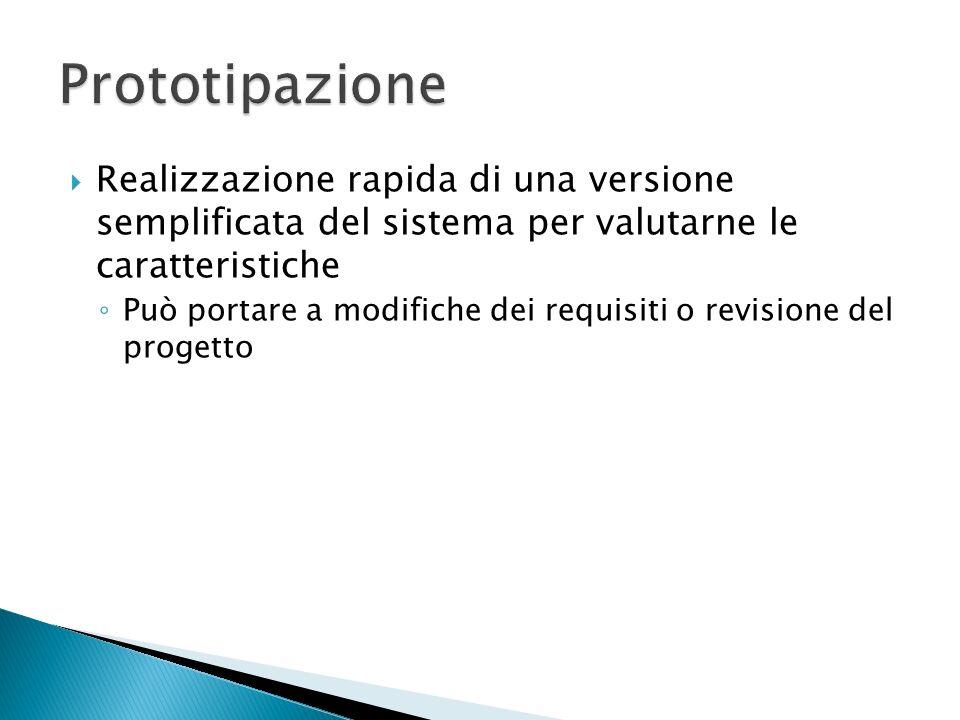 Prototipazione Realizzazione rapida di una versione semplificata del sistema per valutarne le caratteristiche.