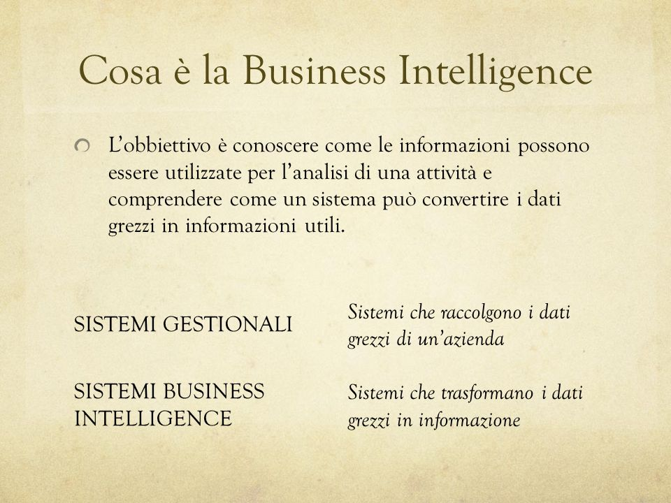 Cosa è la Business Intelligence