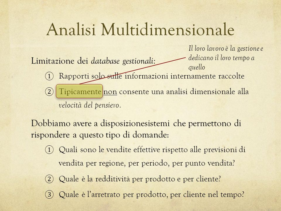 Analisi Multidimensionale