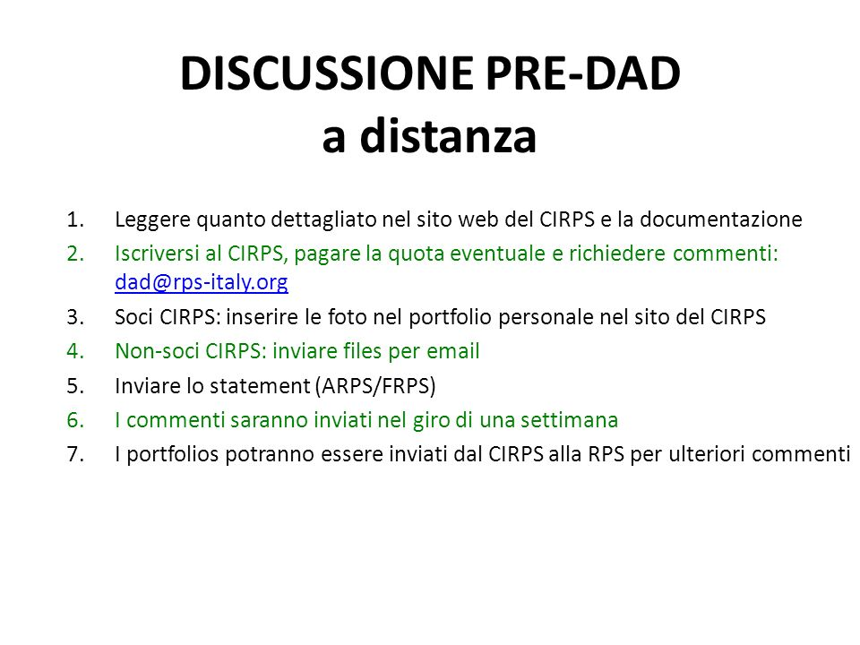 DISCUSSIONE PRE-DAD a distanza