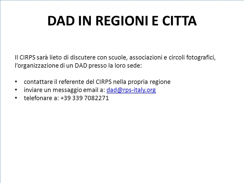 DAD IN REGIONI E CITTA