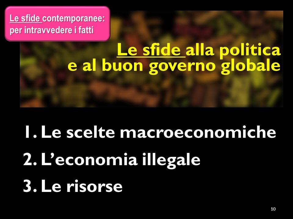 1. Le scelte macroeconomiche 2. L'economia illegale 3. Le risorse