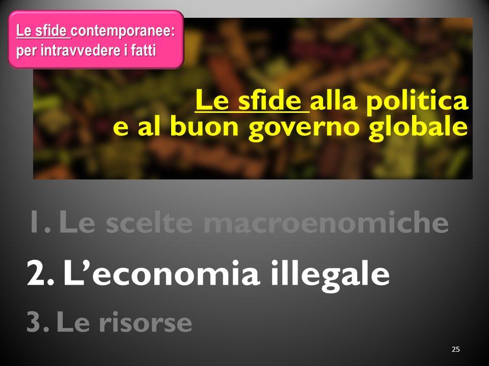 1. Le scelte macroenomiche 2. L'economia illegale 3. Le risorse