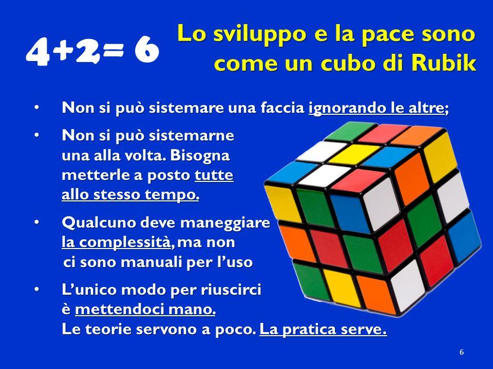 4+2= 6 Lo sviluppo e la pace sono come un cubo di Rubik