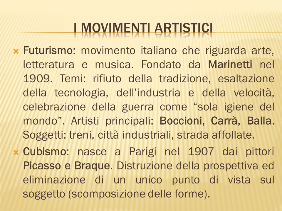 I movimenti artistici