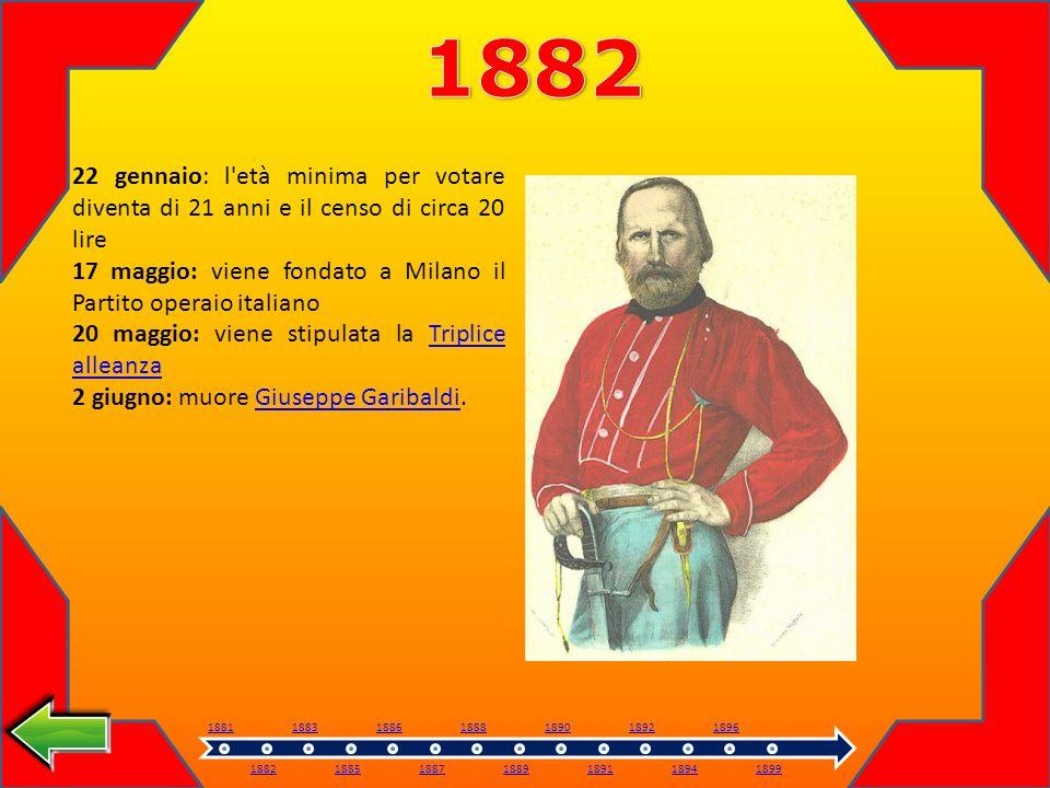 1882 22 gennaio: l età minima per votare diventa di 21 anni e il censo di circa 20 lire.