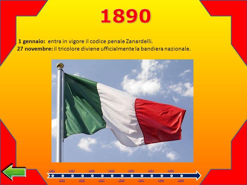 1890 1 gennaio: entra in vigore il codice penale Zanardelli.