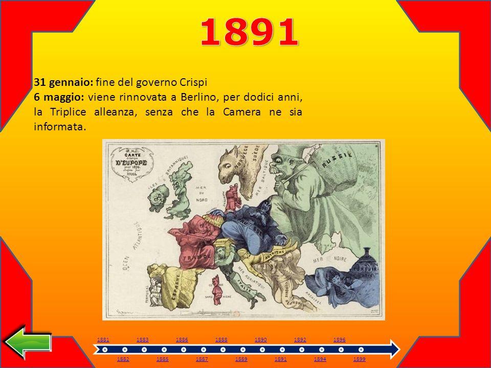 1891 31 gennaio: fine del governo Crispi