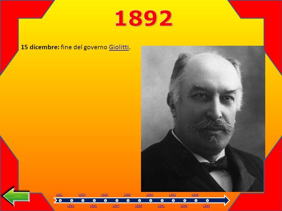 1892 15 dicembre: fine del governo Giolitti. 1881 1882 1883 1885 1886
