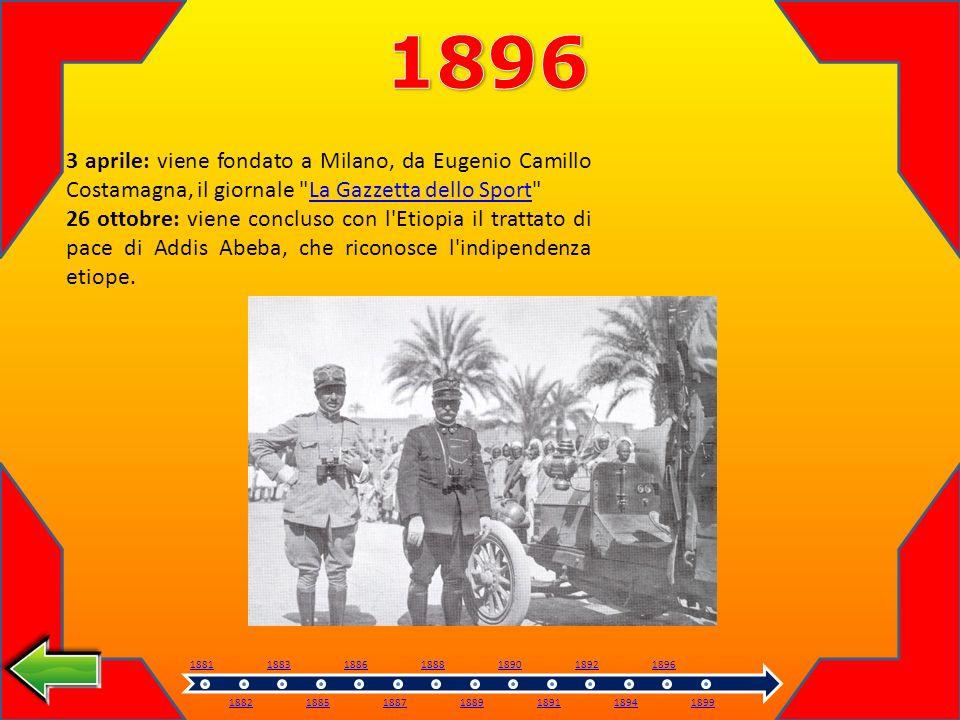 1896 3 aprile: viene fondato a Milano, da Eugenio Camillo Costamagna, il giornale La Gazzetta dello Sport