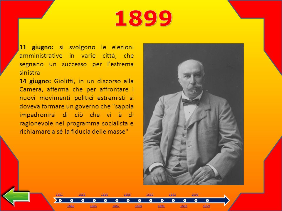 1899 11 giugno: si svolgono le elezioni amministrative in varie città, che segnano un successo per l estrema sinistra.