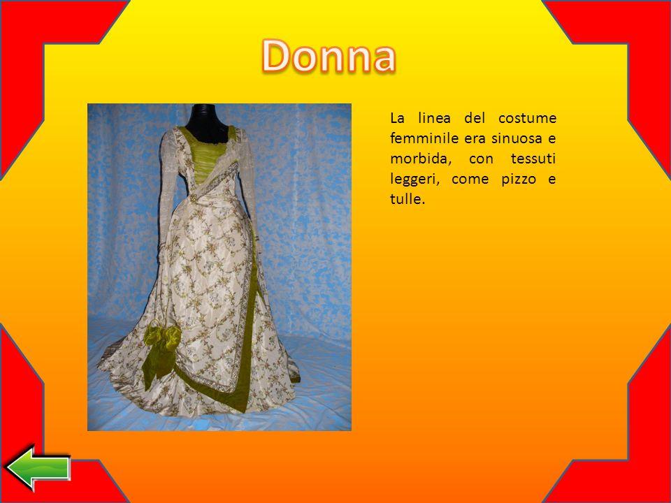 Donna La linea del costume femminile era sinuosa e morbida, con tessuti leggeri, come pizzo e tulle.