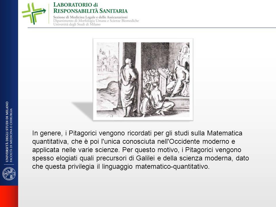 In genere, i Pitagorici vengono ricordati per gli studi sulla Matematica quantitativa, che è poi l unica conosciuta nell Occidente moderno e applicata nelle varie scienze.