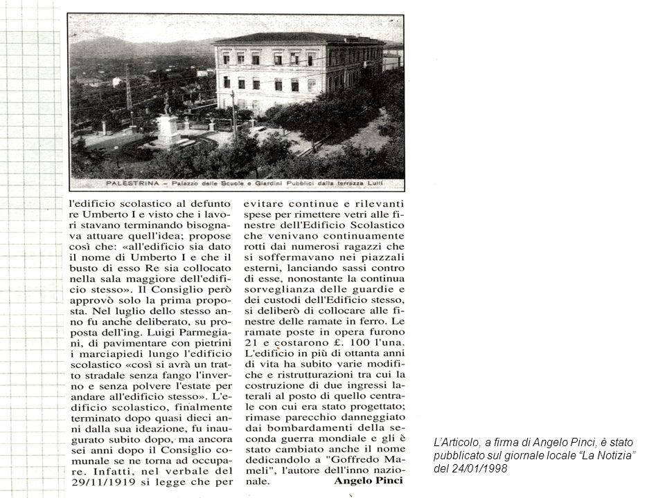 L'Articolo, a firma di Angelo Pinci, è stato pubblicato sul giornale locale La Notizia del 24/01/1998