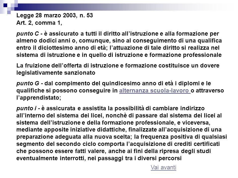 Legge 28 marzo 2003, n. 53 Art. 2, comma 1,