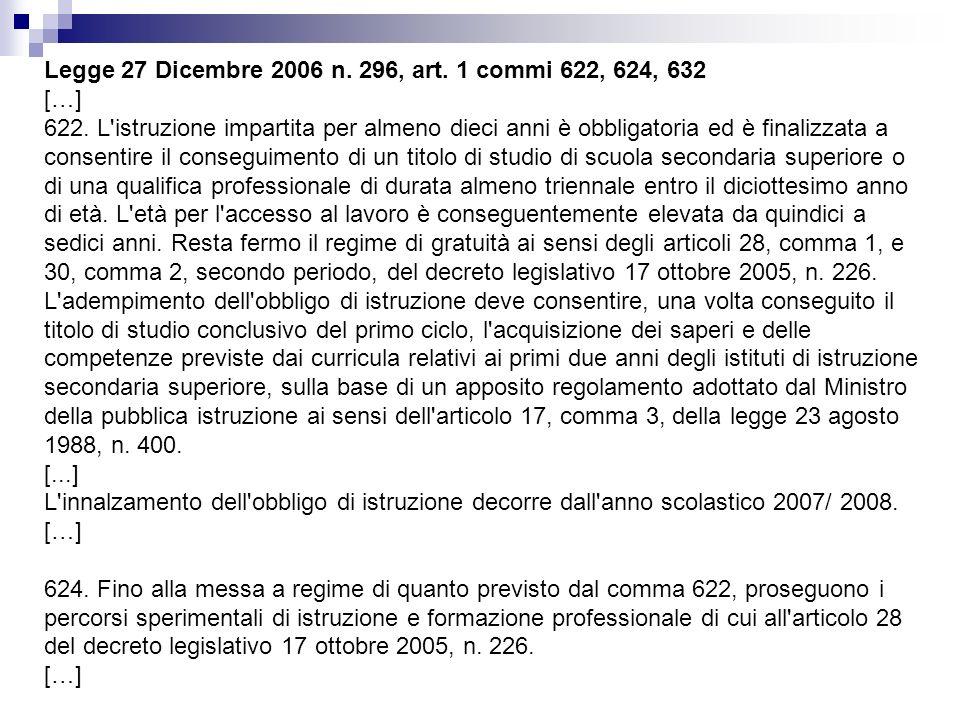 Legge 27 Dicembre 2006 n. 296, art. 1 commi 622, 624, 632