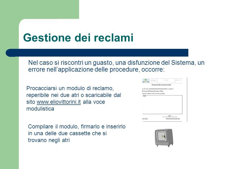Gestione dei reclami Nel caso si riscontri un guasto, una disfunzione del Sistema, un errore nell'applicazione delle procedure, occorre:
