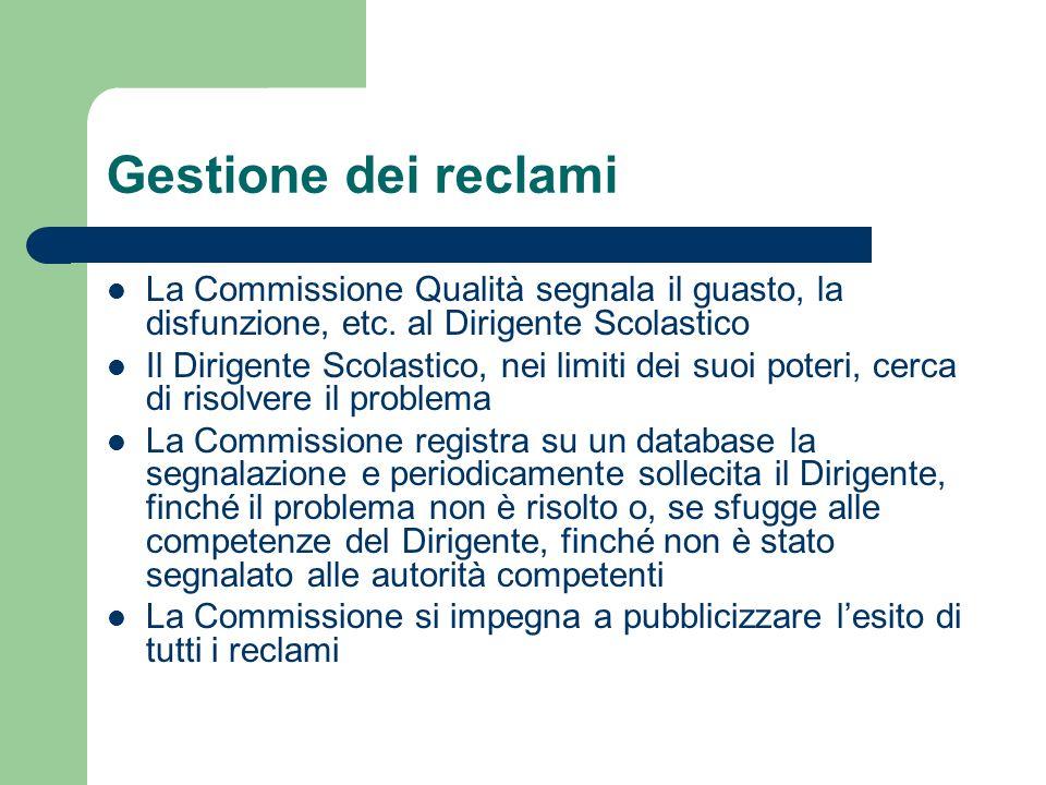 Gestione dei reclami La Commissione Qualità segnala il guasto, la disfunzione, etc. al Dirigente Scolastico.