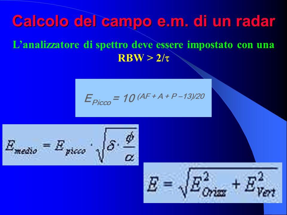 Calcolo del campo e.m. di un radar