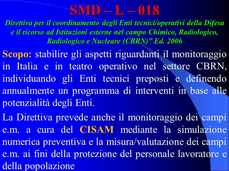SMD – L – 018 Direttiva per il coordinamento degli Enti tecnici/operativi della Difesa e il ricorso ad Istituzioni esterne nel campo Chimico, Radiologico, Radiologico e Nucleare (CBRN) Ed. 2006