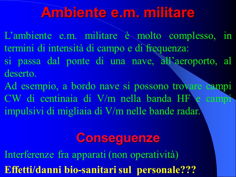 Ambiente e.m. militare Conseguenze