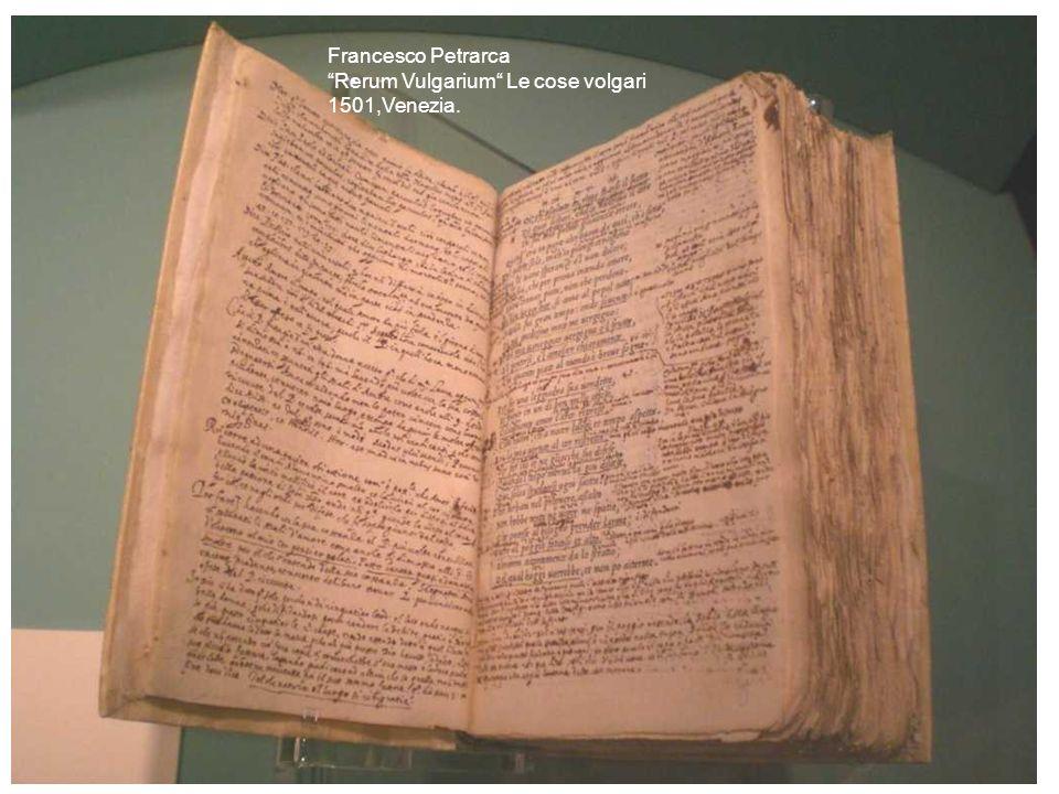 Francesco Petrarca Rerum Vulgarium Le cose volgari 1501,Venezia.