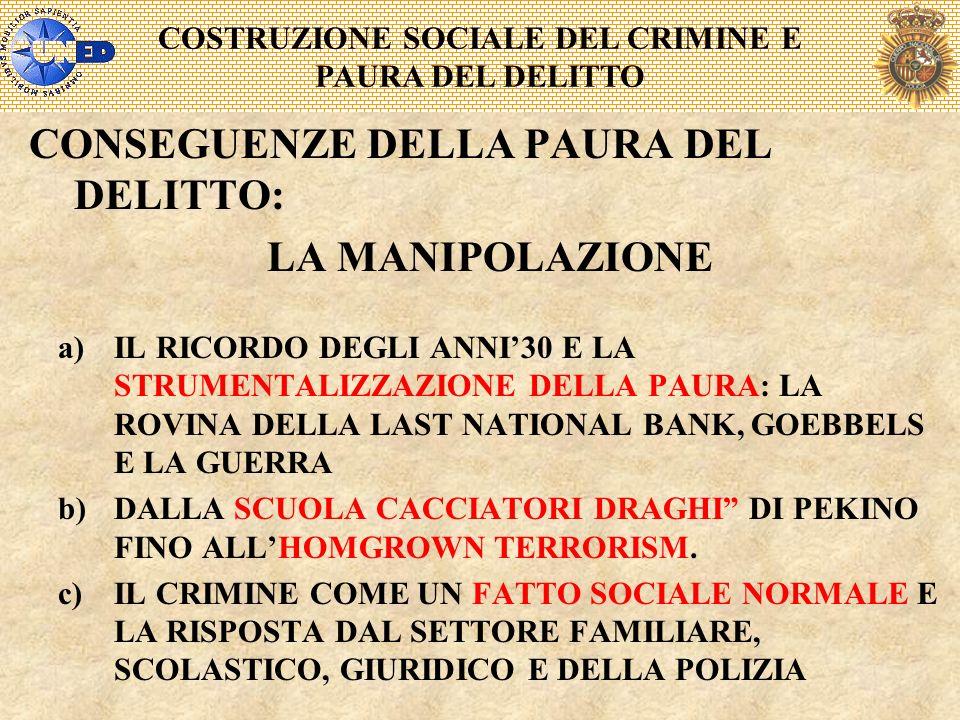 COSTRUZIONE SOCIALE DEL CRIMINE E