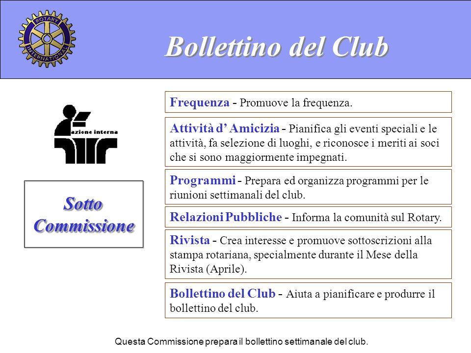 Questa Commissione prepara il bollettino settimanale del club.