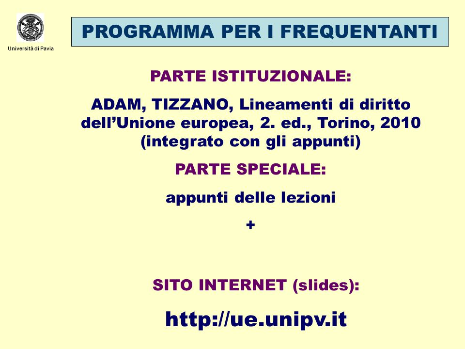 SITO INTERNET (slides):