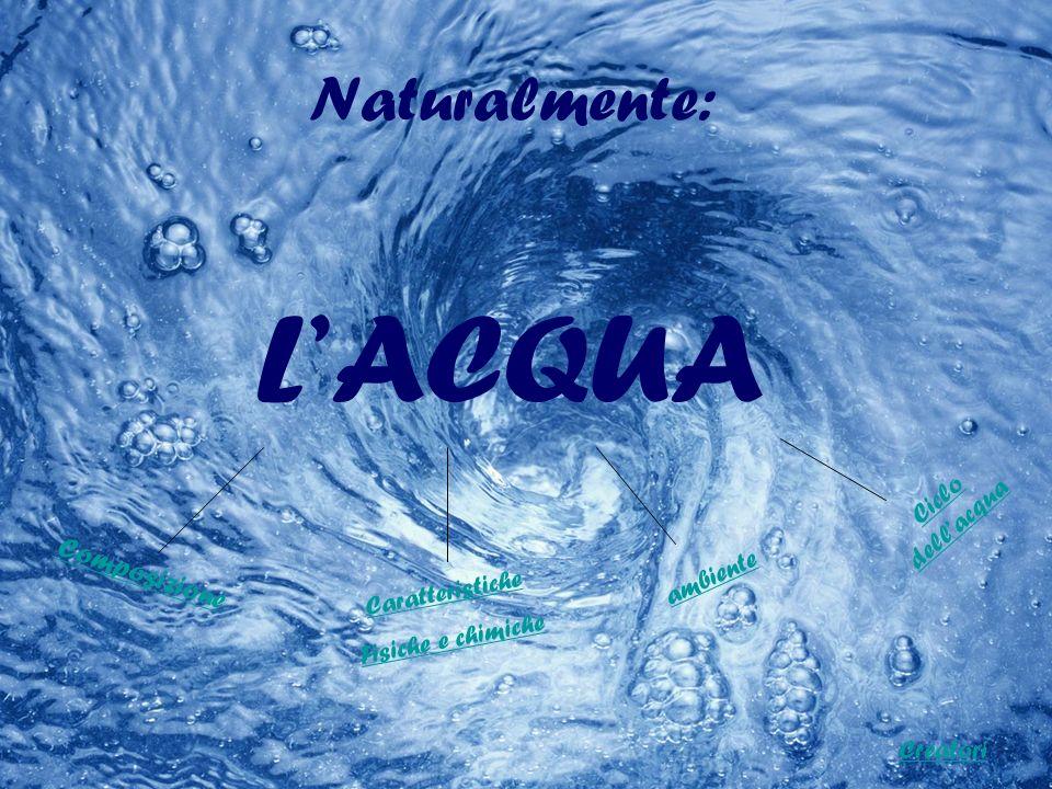 Naturalmente: L'ACQUA Composizione Ciclo dell'acqua ambiente