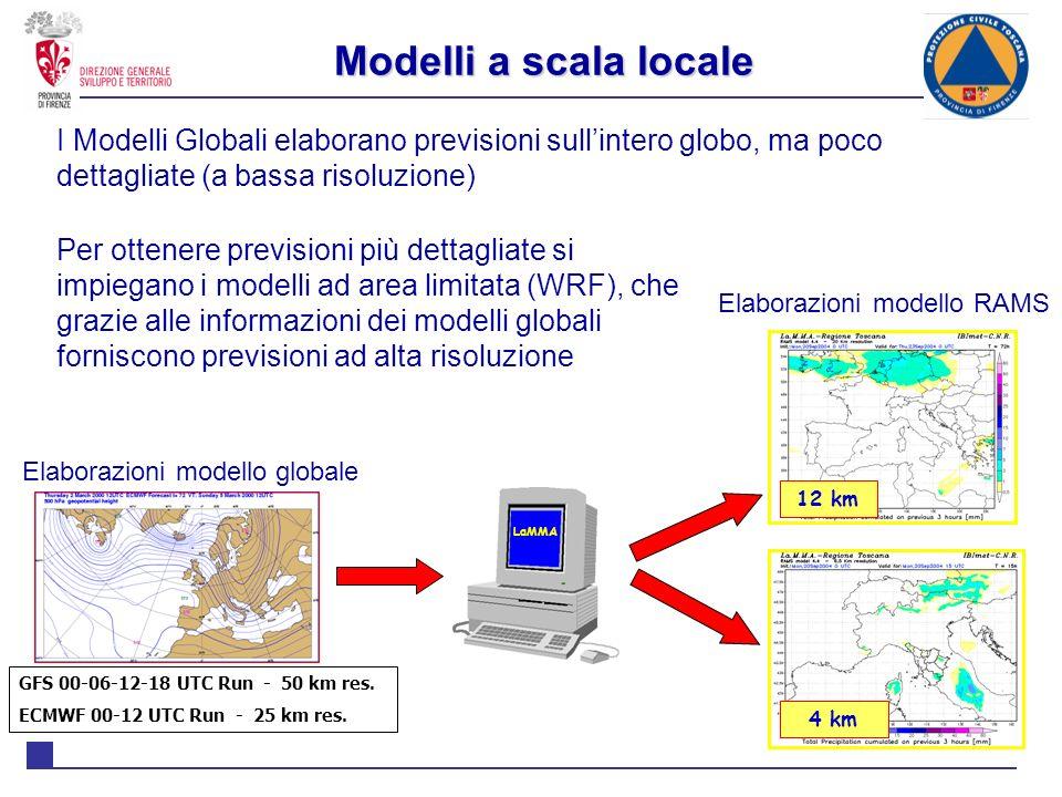 Modelli a scala locale I Modelli Globali elaborano previsioni sull'intero globo, ma poco dettagliate (a bassa risoluzione)