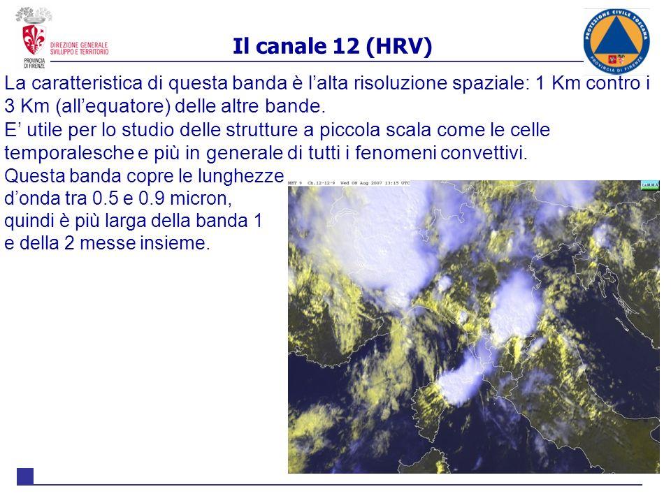 Il canale 12 (HRV) La caratteristica di questa banda è l'alta risoluzione spaziale: 1 Km contro i 3 Km (all'equatore) delle altre bande.