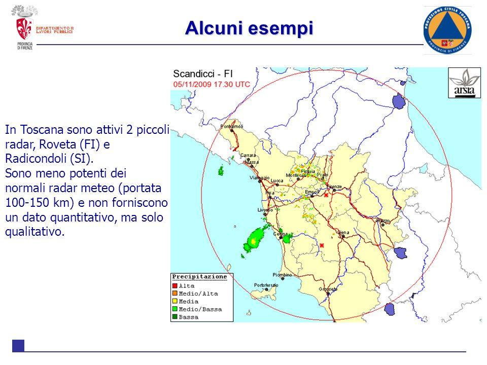 Alcuni esempi DIPARTIMENTO II. LAVORI PUBBLICI. In Toscana sono attivi 2 piccoli radar, Roveta (FI) e Radicondoli (SI).