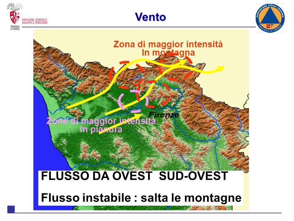 Zona di maggior intensità Zone di maggior intensità