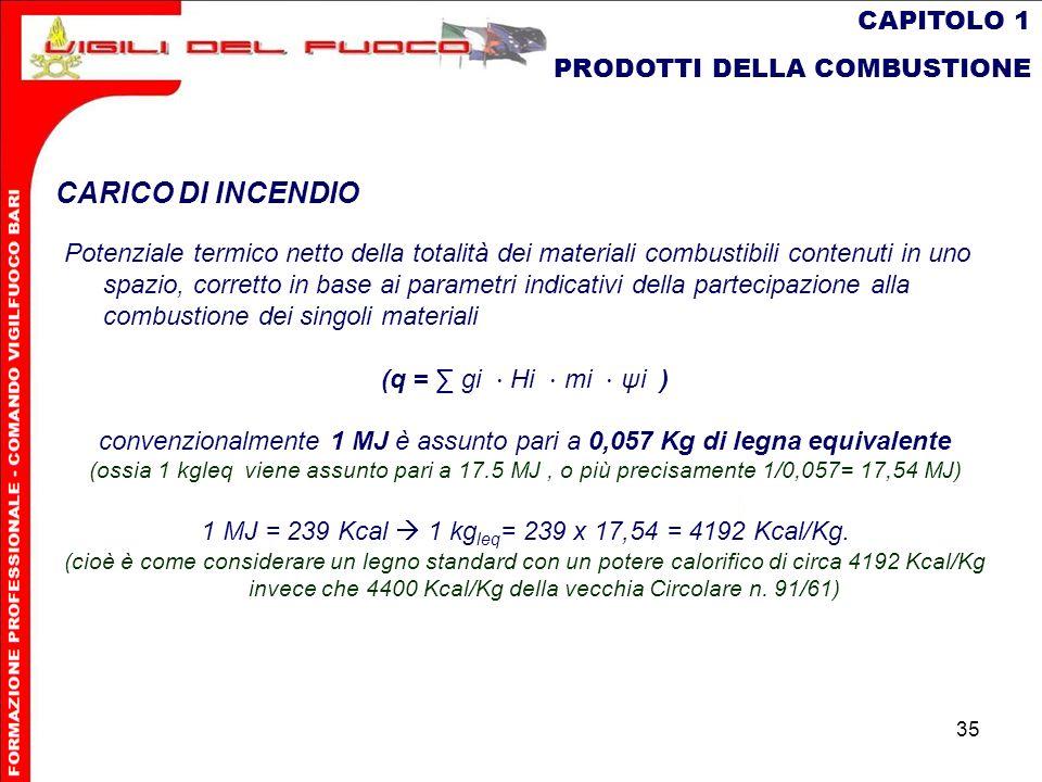 CARICO DI INCENDIO CAPITOLO 1 PRODOTTI DELLA COMBUSTIONE