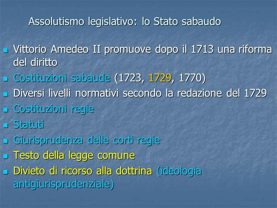 Assolutismo legislativo: lo Stato sabaudo