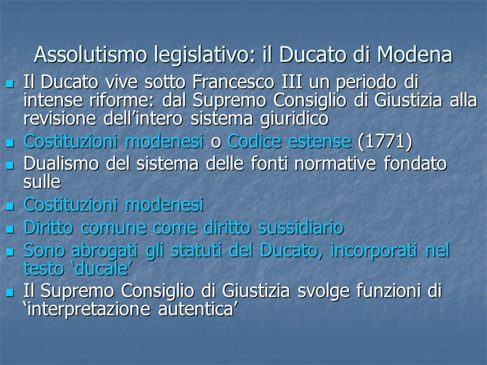 Assolutismo legislativo: il Ducato di Modena