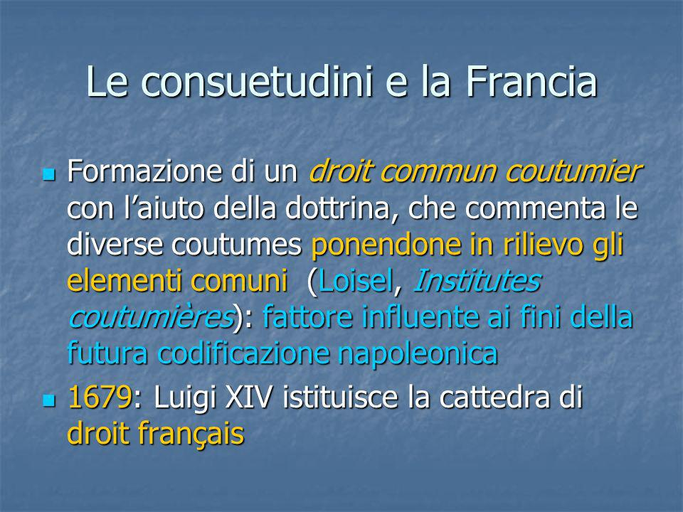 Le consuetudini e la Francia