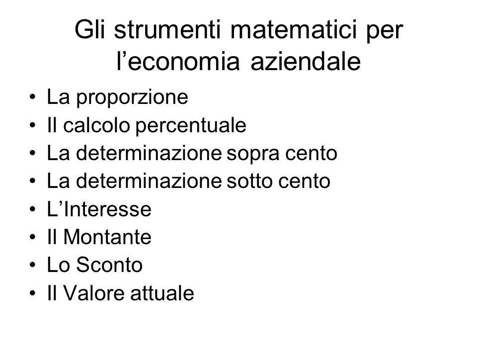Gli strumenti matematici per l'economia aziendale