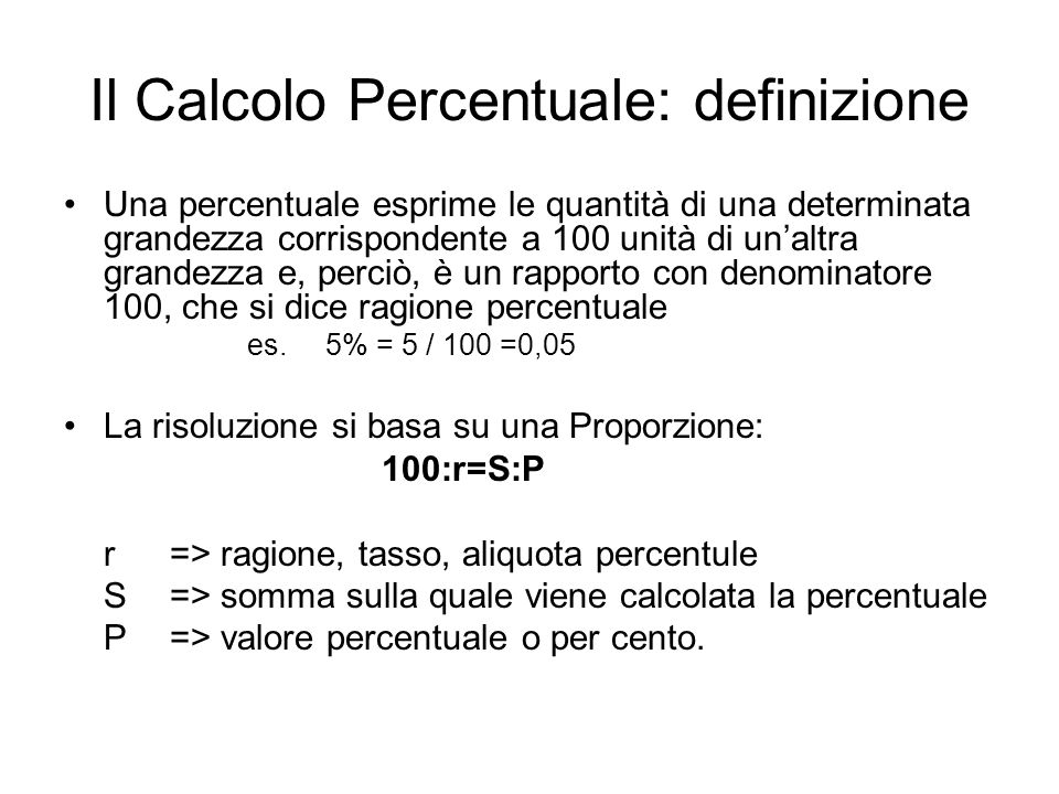 Il Calcolo Percentuale: definizione