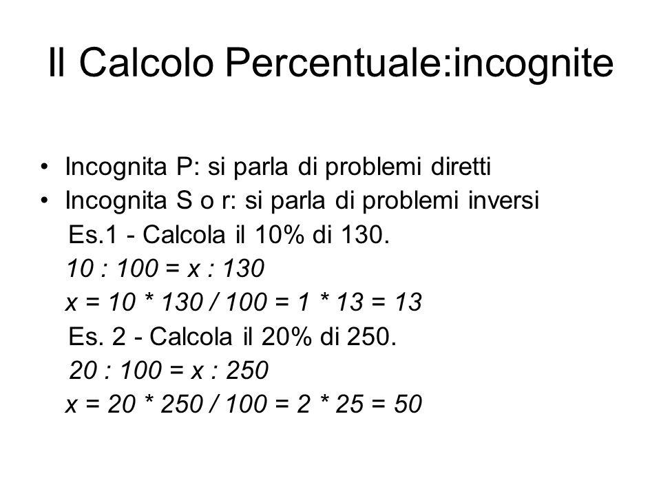 Il Calcolo Percentuale:incognite