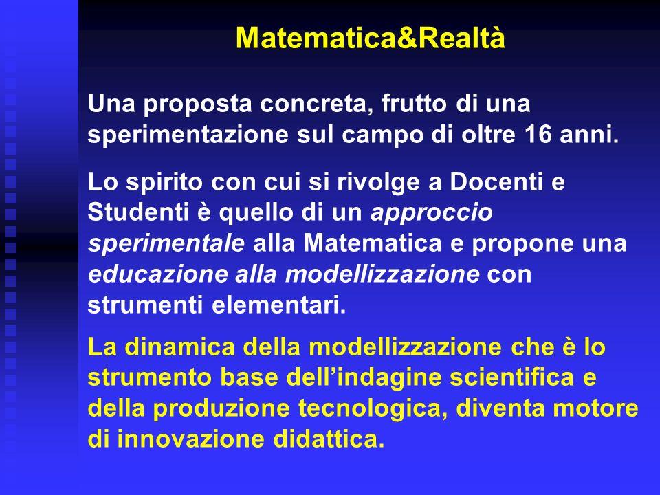 Matematica&Realtà Una proposta concreta, frutto di una sperimentazione sul campo di oltre 16 anni.