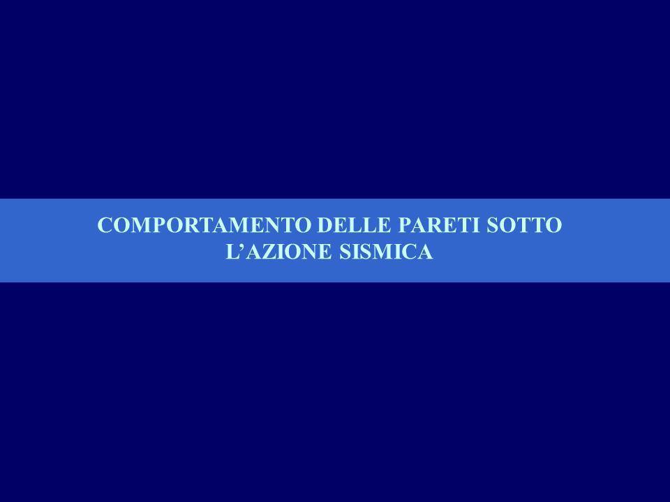 COMPORTAMENTO DELLE PARETI SOTTO L'AZIONE SISMICA