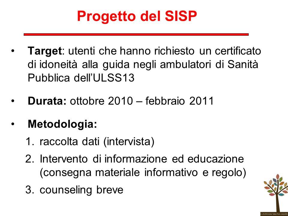 Progetto del SISP Target: utenti che hanno richiesto un certificato di idoneità alla guida negli ambulatori di Sanità Pubblica dell'ULSS13.