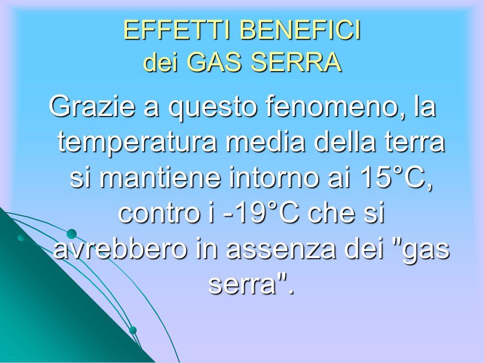 EFFETTI BENEFICI dei GAS SERRA